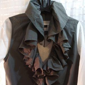 Victoria's Secret Ruffled Vest, Camo Green, Medium